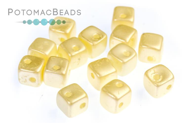 Crisscross Cube Beads - Pastel Cream (closeout)