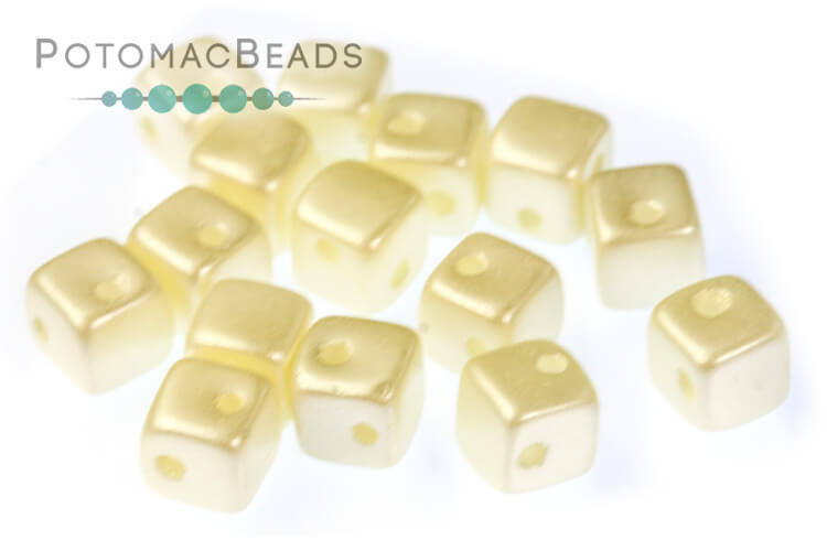 Crisscross Cube Beads - Pastel Light Cream (closeout)