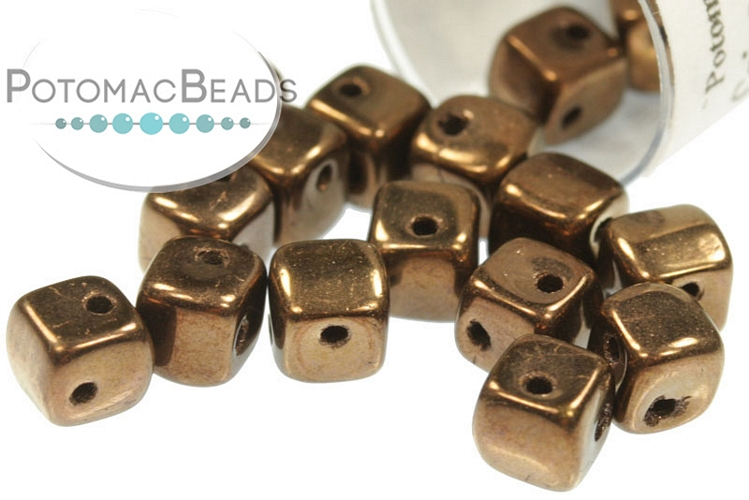 Crisscross Cube Beads - Jet Bronze 4mm (tube) (closeout)