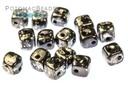 Crisscross Cube Beads - Jet Antique Chrome (closeout)