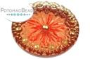 Czech Cabochon - Golden Mauve Flower 28mm