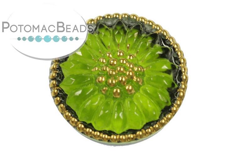 Czech Cabochon - Green Sunburst Flower 18mm