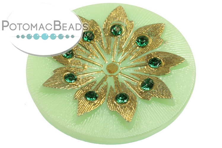 Czech Cabochon - Jade Studded Gold Flower 38mm