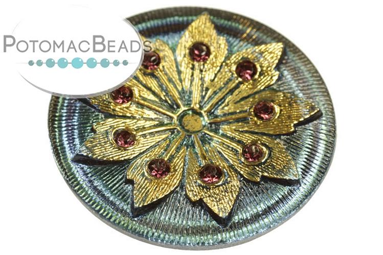 Czech Cabochon - Vitrail Studded Gold Flower 38mm