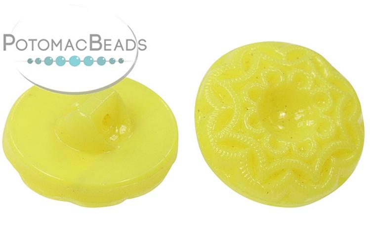 Czech Button - Yellow Mandala