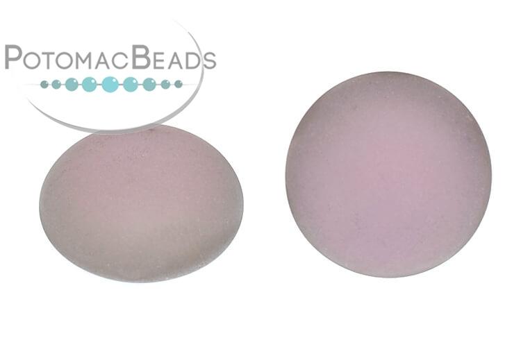 Czech Cabochon - Matte Backlit Pink Mist 18mm