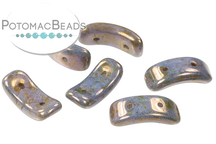 Bow Beads - White Lilac Picasso 3.5x15.5mm