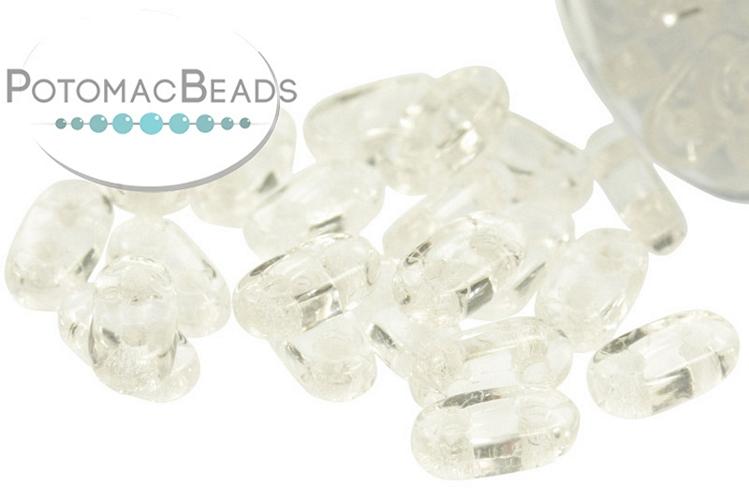 2-Hole Bar Beads - Crystal 2x6mm