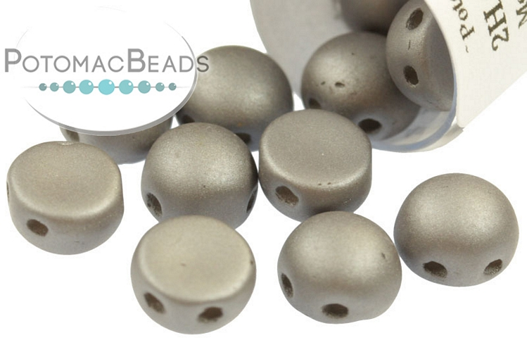 2-Hole Cabochon Beads 6mm - Metallic Steel