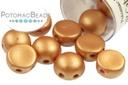 2-Hole Cabochon Beads 6mm - Metallic Copper