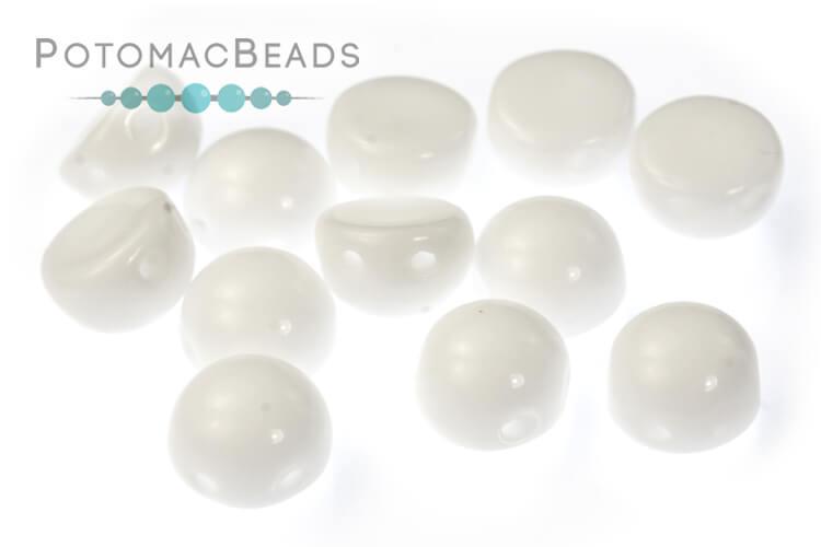 2-Hole Cabochon Beads 6mm - White