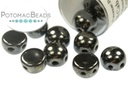 2-Hole Cabochon Beads 6mm - Jet Hematite