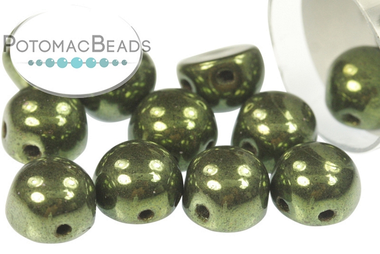 2-Hole Cabochon Beads 6mm - Jet Red Luster (Metallic Green)