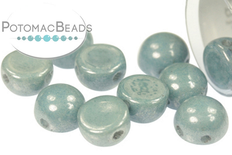 2-Hole Cabochon Beads 6mm - White Baby Blue Luster