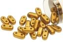 2-Hole Bar Beads - Brass Gold 2x6mm