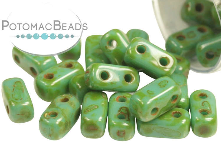 2-Hole Brick - Persian Turquoise Picasso