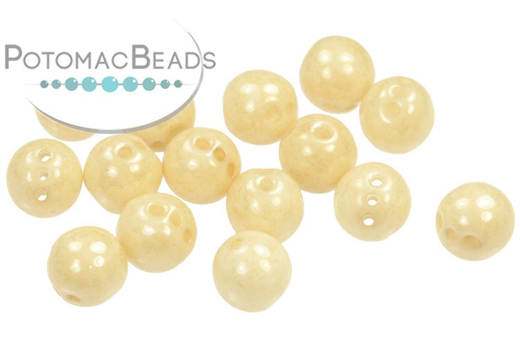 RounTrio Beads - White Champagne Luster (Pack of 300) 6mm