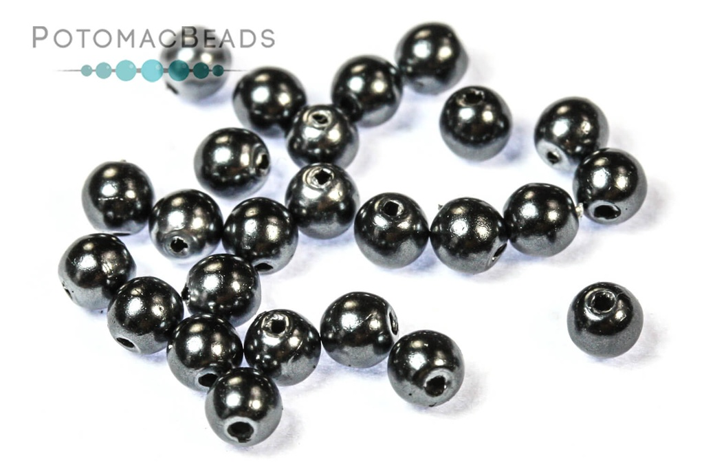 Czech Pearls - Dark Grey Shiny 3mm