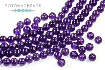 "[4813] Gemstones - Amethyst Round Beads 4mm 16"" Strand"