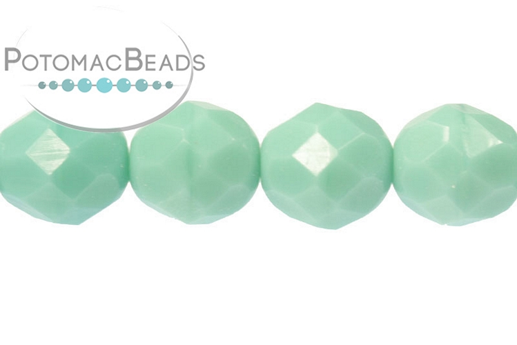 Czech Faceted Round Beads - Jade 8mm