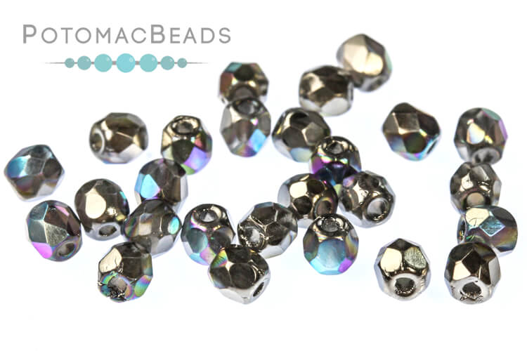Czech Faceted Round Beads - Glittery Graphite 3mm