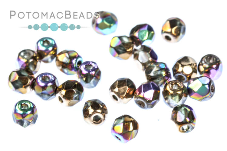 Czech Faceted Round Beads - Glittery Bronze 3mm