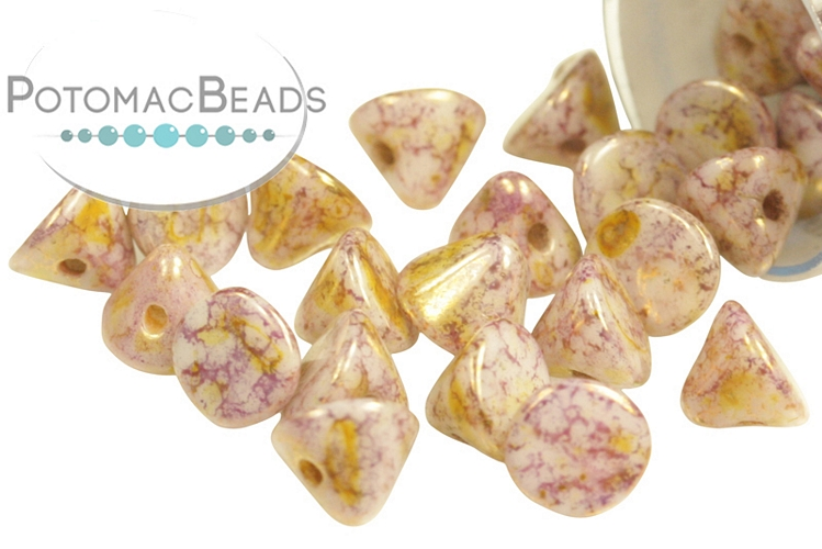 Button Bead - White Lila Gold Luster 4mm