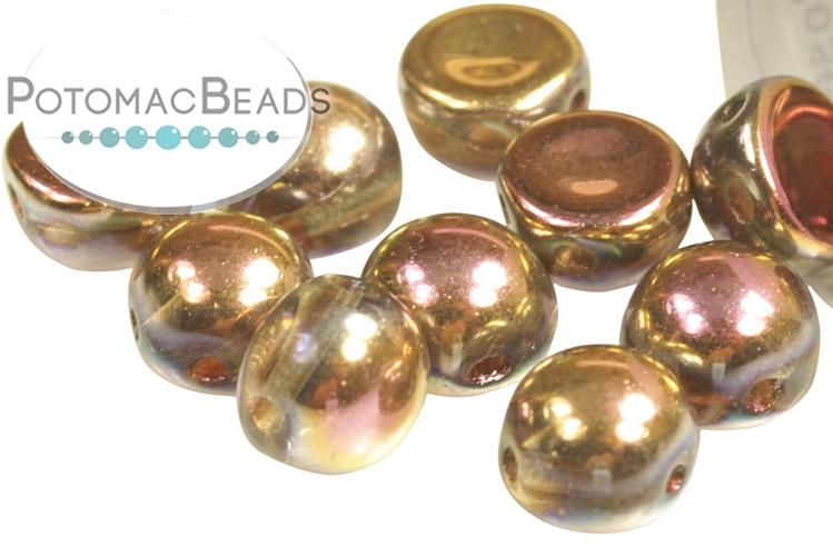 2-Hole Cabochon Beads 6mm - Crystal Capri Rose Full