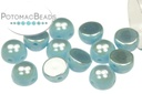 2-Hole Cabochon Beads 6mm - Turquoise Full Light AB