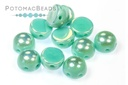 2-Hole Cabochon Beads 6mm - Lt Jade Lt AB Full