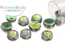2-Hole Cabochon Beads 6mm - Etched Crystal Vitrail Full