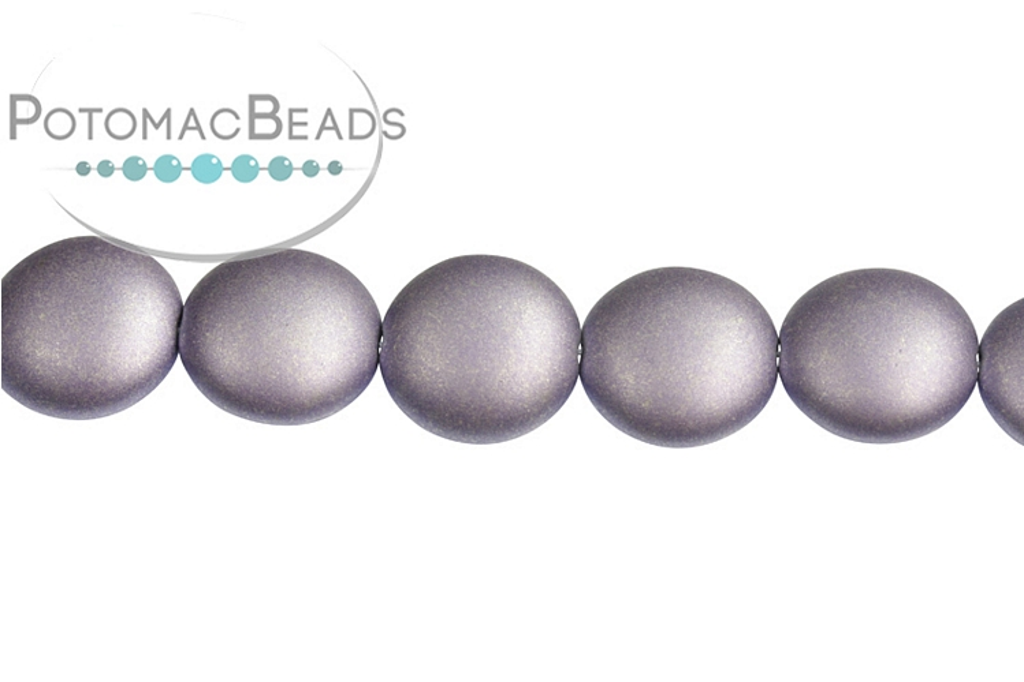 Cushion Beads - Metallic Lavender 14mm
