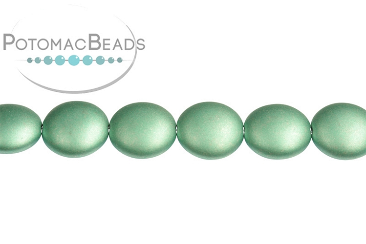 Cushion Beads - Metallic Teal 14mm