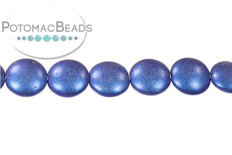 Cushion Beads - Metallic Blue 14mm