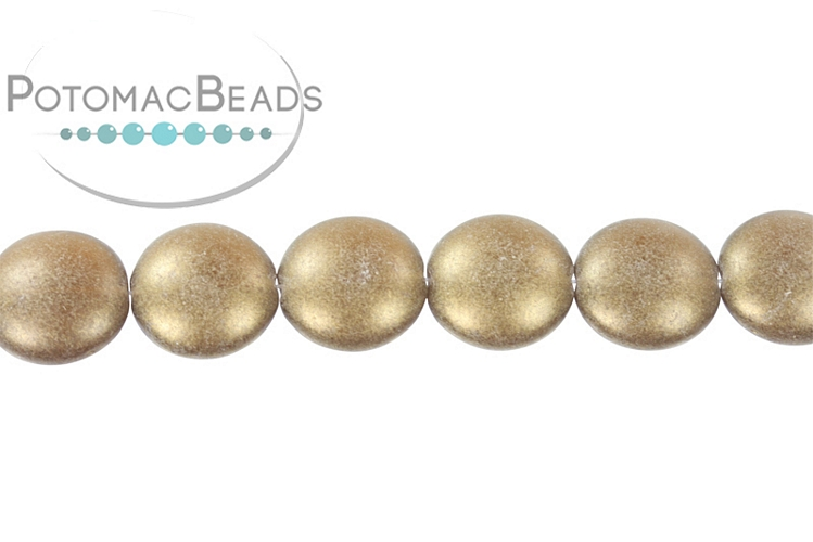 Cushion Beads - Smoky Topaz Sueded Gold 14mm