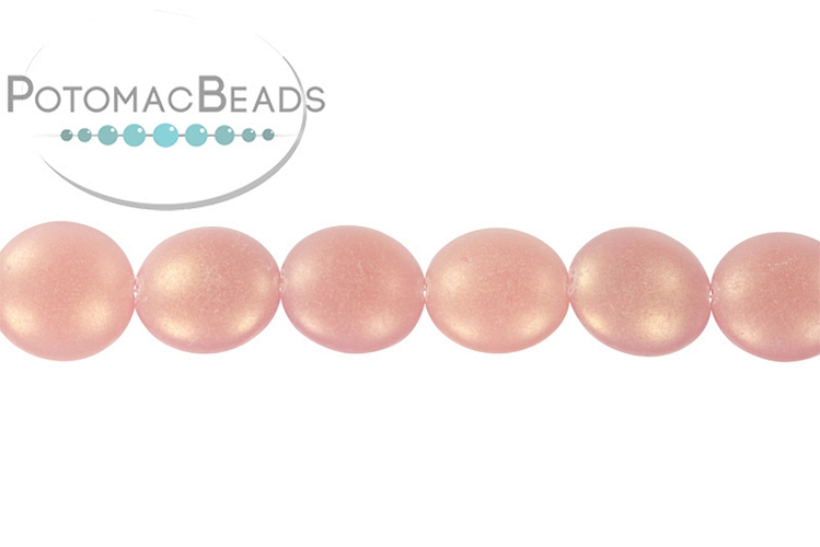 Cushion Beads - Milky Pink Sueded Gold
