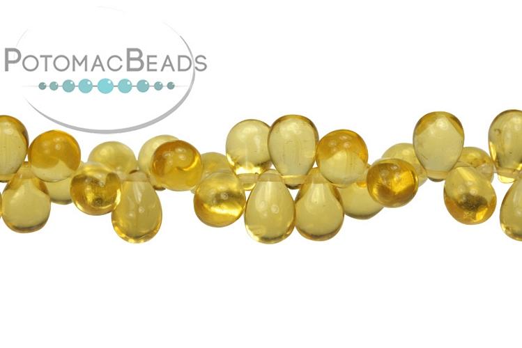 Czech Drop Beads - Topaz 9x6mm
