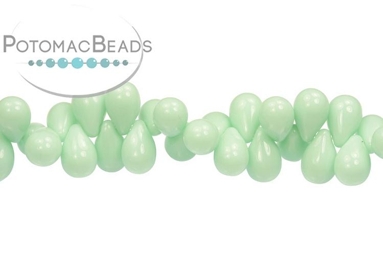 Czech Drop Beads - Opaque Pale Jade 9x6mm