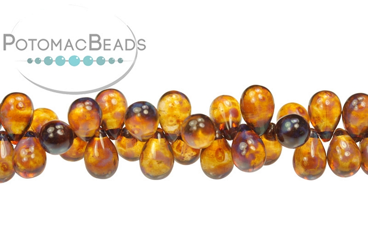 Czech Drop Beads - Rosaline Dark Travertine 9x6mm