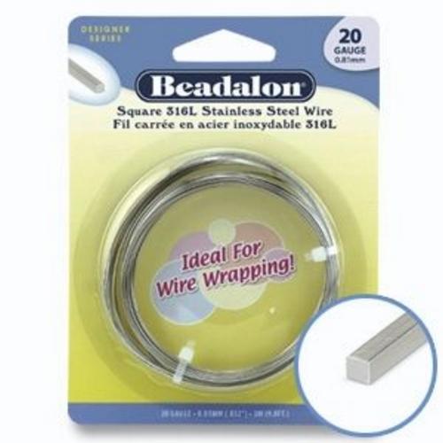 Beadalon Half Hard Square Wire Silver 24g