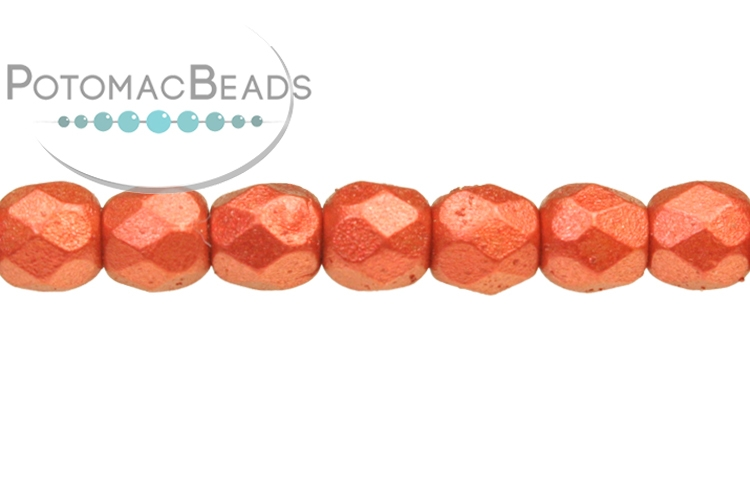 Czech Faceted Round Beads - Lava Red 3mm