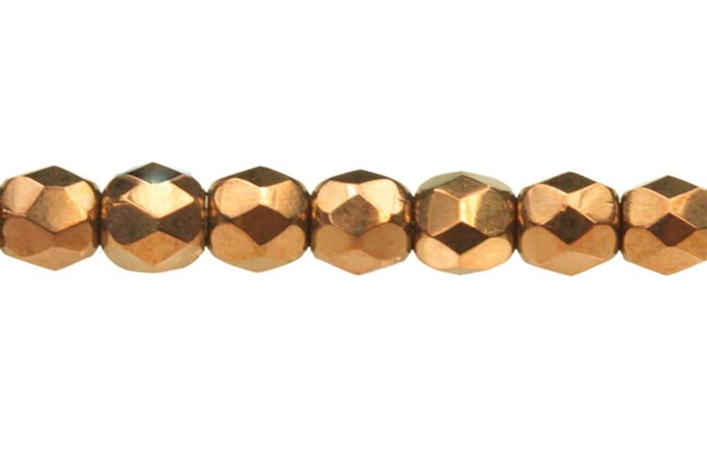 Czech Faceted Round Beads - Jet Bronze 3mm