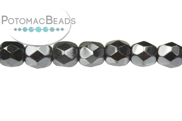 Czech Faceted Round Beads - Jet Blue Hematite Full 3mm