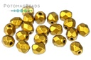 Czech Faceted Round Beads - Brass Gold 4mm