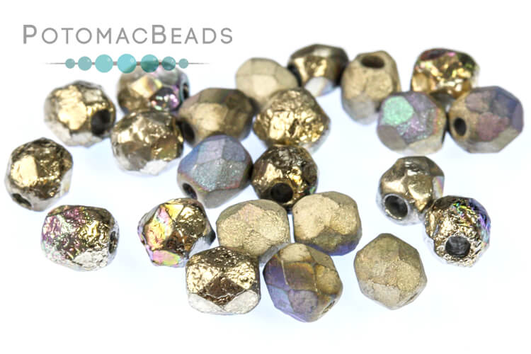 Czech Faceted Round Beads - Etched Glittery Argentic 4mm