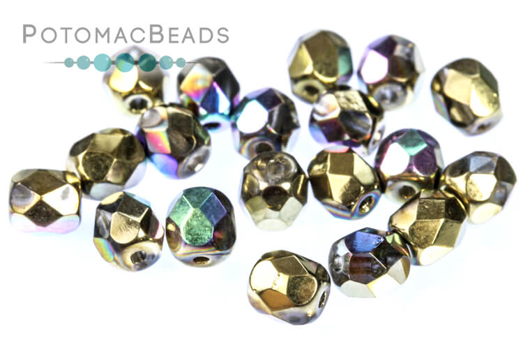 Czech Faceted Round Beads - Glittery Amber 4mm