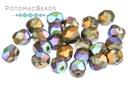 Czech Faceted Round Beads - Glittery Bronze Matted 4mm