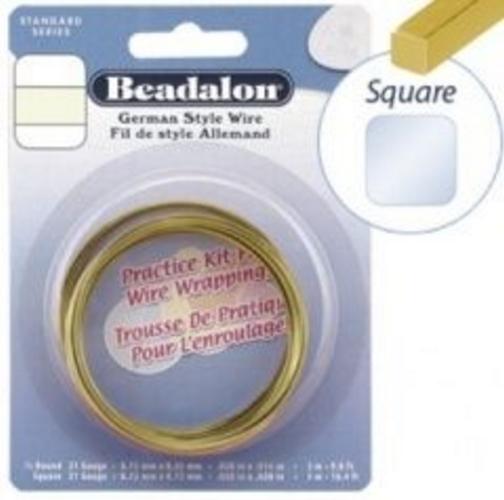 Beadalon Half Hard Square Wire Brass 20g (Closeout)