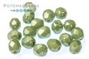Czech Faceted Round Beads - White Teal Luster 4mm