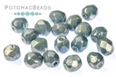 Czech Faceted Round Beads - White Baby Blue Luster 4mm